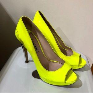 Miu Miu neon yellow patent leather pumps 6